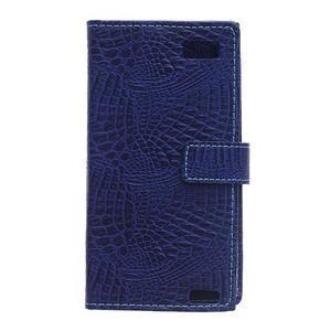 Croco style peněženkové pouzdro na BlackBerry Leap - tmavěmodré - 3