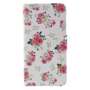 PU kožené pouzdro na mobil Honor 5X - květiny - 3