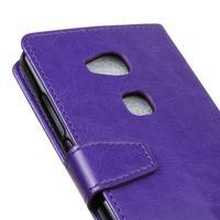 Horse peněženkové koženkové pouzdro na Huawei Honor 5X - fialové - 3/7