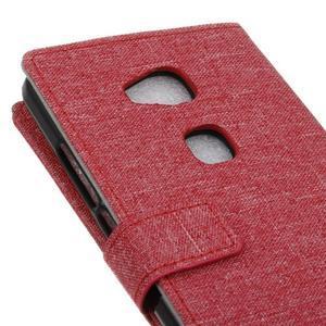 Textilní/koženkové pouzdro na Honor 5X - červené - 3
