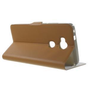 Peněženkové PU kožené pouzdro na mobil Honor 5X - hnědé - 3