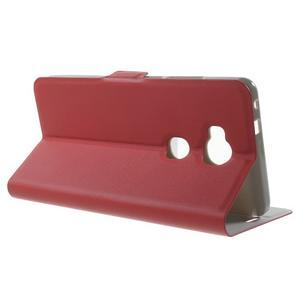Peněženkové PU kožené pouzdro na mobil Honor 5X - červené - 3