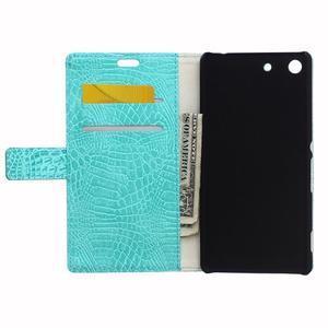 Peněženkové pouzdro s texturou krokodýlí kůže na Sony Xperia M5 - cyan - 3