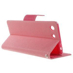 Goos PU kožené penženkové pouzdro na Sony Xperia M5 - růžové - 3