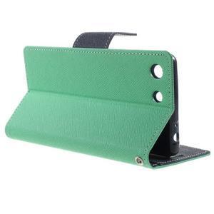 Goos PU kožené penženkové pouzdro na Sony Xperia M5 - cyan - 3