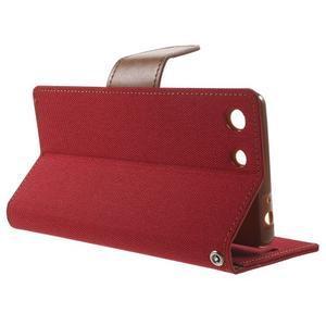 Canvas PU kožené / textilní pouzdro na Sony Xperia M5 - červené - 3