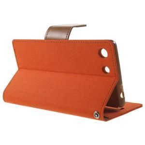 Canvas PU kožené / textilní pouzdro na Sony Xperia M5 - oranžové - 3