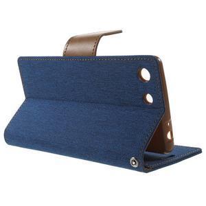 Canvas PU kožené / textilní pouzdro na Sony Xperia M5 - modré - 3