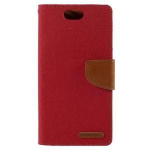 Canvas PU kožené/textilní pouzdro na Asus Zenfone Selfie ZD551KL - červené - 3