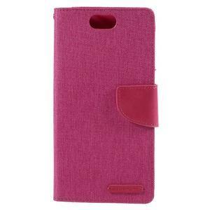 Canvas PU kožené/textilní pouzdro na Asus Zenfone Selfie ZD551KL - rose - 3
