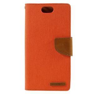 Canvas PU kožené/textilní pouzdro na Asus Zenfone Selfie ZD551KL - oranžové - 3