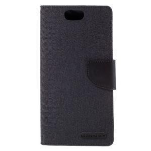 Canvas PU kožené/textilní pouzdro na Asus Zenfone Selfie ZD551KL - černé - 3