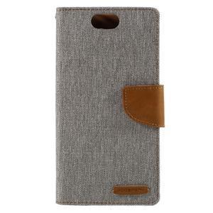 Canvas PU kožené/textilní pouzdro na Asus Zenfone Selfie ZD551KL - šedé - 3