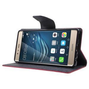 Diary PU kožené pouzdro na mobil Huawei P9 - rose - 3