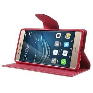 Diary PU kožené pouzdro na mobil Huawei P9 - růžové - 3