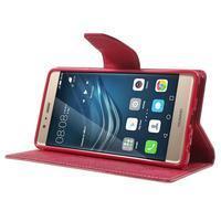 Diary PU kožené pouzdro na mobil Huawei P9 - růžové - 3/7