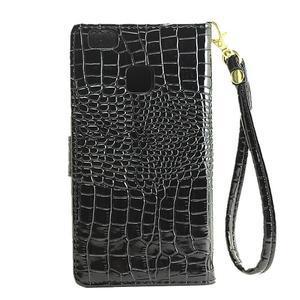 Croco peněženkové pouzdro na mobil Huawei P9 Lite - černé - 3