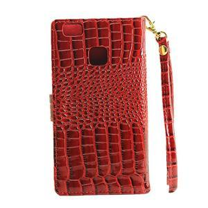 Croco peněženkové pouzdro na mobil Huawei P9 Lite - červené - 3