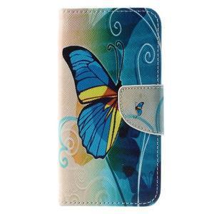 Emotive PU kožené pouzdro na Huawei Y5 - modrý motýl - 3