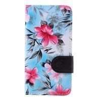 Květinové pouzdro na Huawei Y5 a Y560 - modré pozadí - 3/7