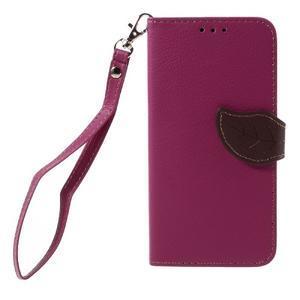 Leaf PU kožené pouzdro na mobil Huawei Y6 - rose - 3