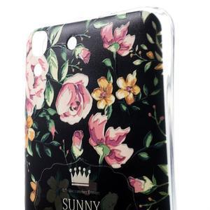 Softy gelový obal na mobil Huawei Y6 - květina na černém pozadí - 3