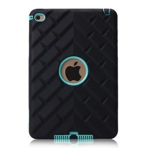 Vysoce odolný silikonový obal na tablet iPad mini 4 - černý/cyan - 3