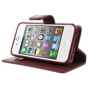 Moon PU kožené pouzdro na mobil iPhone 4 - vínové - 3