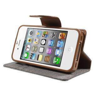 Canvas PU kožené/textilní pouzdro na iPhone 4 - šedé - 3