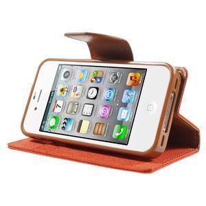 Canvas PU kožené/textilní pouzdro na iPhone 4 - oranžové - 3