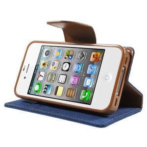 Canvas PU kožené/textilní pouzdro na iPhone 4 - modré - 3