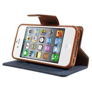 Canvas PU kožené/textilní pouzdro na iPhone 4 - tmavěmodré - 3