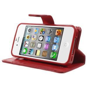 Moon PU kožené pouzdro na mobil iPhone 4 - červené - 3