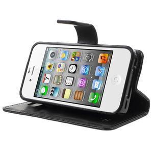 Moon PU kožené pouzdro na mobil iPhone 4 - černé - 3
