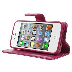 Moon PU kožené pouzdro na mobil iPhone 4 - rose - 3