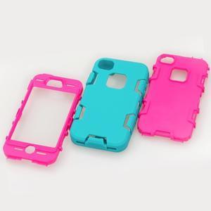 Silikonový odolný obal 3v1 na iPhone 4 - modrý - 3