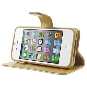 Moon PU kožené pouzdro na mobil iPhone 4 - zlaté - 3