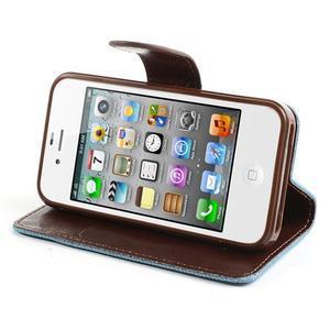 Jeans peněženkové pouzdro na iPhone 4 - světlemodré - 3