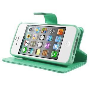 Moon PU kožené pouzdro na mobil iPhone 4 - azurové - 3