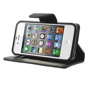 Diary PU kožené knížkové pouzdro na iPhone 4 - černé - 3
