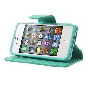 Diary PU kožené knížkové pouzdro na iPhone 4 - azurové - 3