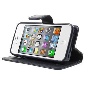 Moon PU kožené pouzdro na mobil iPhone 4 - tmavěmodré - 3