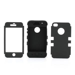 Silikonový odolný obal 3v1 na iPhone 4 - černý - 3