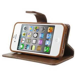 Moon PU kožené pouzdro na mobil iPhone 4 - hnědé - 3