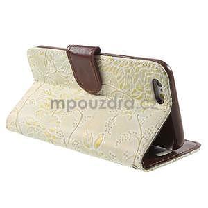 Elegantní květinové peněženkové pouzdro na iPhone 6 a 6s - bílé - 3