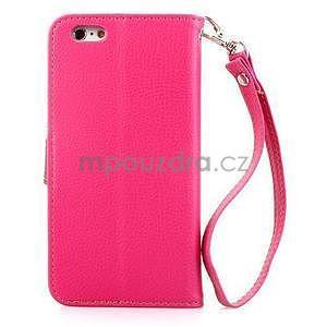 PU kožené peněženkové pouzdro pro iPhone 6s a 6 - rose - 3