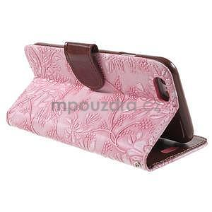 Elegantní květinové peněženkové pouzdro na iPhone 6 a 6s - růžové - 3