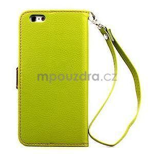 PU kožené peněženkové pouzdro pro iPhone 6s a 6 - zelené - 3