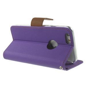 Peněženkové koženkové pouzdro na iPhone 6s a 6 - fialové - 3