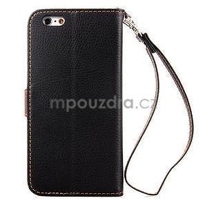PU kožené peněženkové pouzdro pro iPhone 6s a 6 - černé - 3